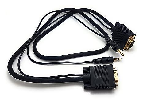 ragai HD15 (SVGA) VGA a VGA con cable estéreo de 3,5 mm Compatible con PC, ordenador, ordenador portátil ...