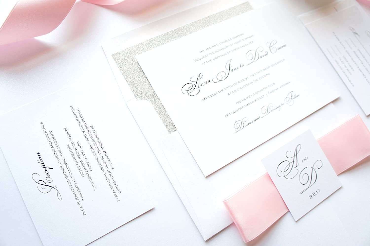 Amazon.com: Pink and Silver Wedding Invitation- SAMPLE SET: Handmade