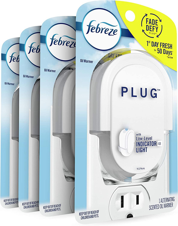 Febreze Odor-eliminating Fade Defy Plug, Scented Oil Warmer, 1 Count (Pack of 4)