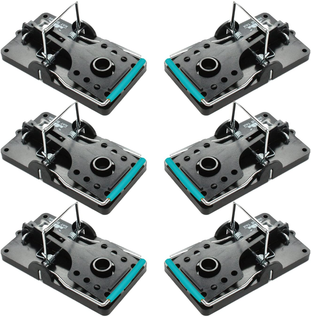 Kat Sense Large Rat Traps, Set of 6, Reusable Pest Control Solutions for Trapping Against Mouse, Chipmunk, and Squirrel. Instant Humane Kill Rodent Snap Trap That Work