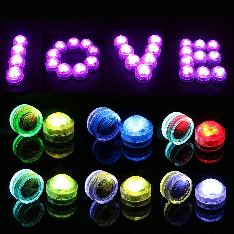 Vasca Idromassaggio Feste Matrimoni 10 Pz Impermeabilizzano le Candele a Fiamma Senza Fiamma Luci Subacquee LED a RGB Illuminazione Subacquea con Telecomando per Vaso MAVIE Mini LED lampadine Pis