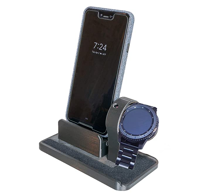 Artifex Design Stand Configured for Samsung Gear S3, Smartwatch Charging Stand, Artifex Charging Dock Stand Includes Phone Charging Dock