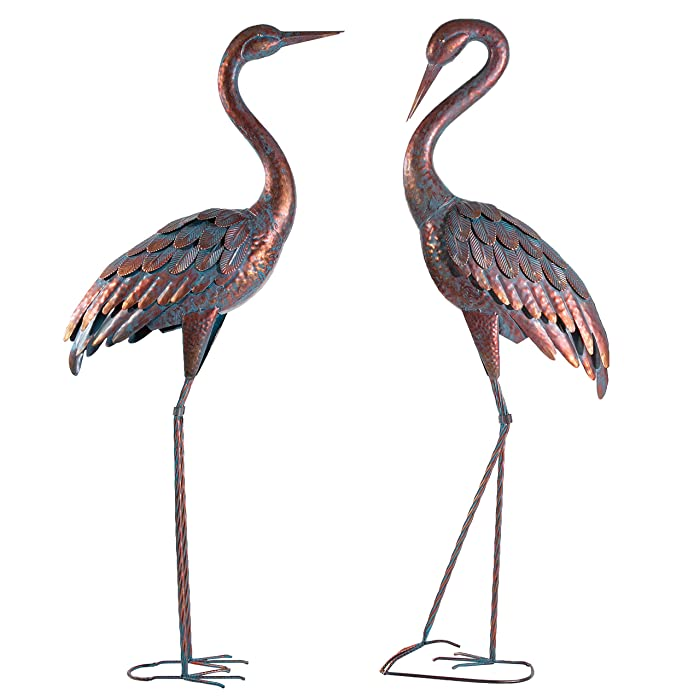 Kircust Garden Statues Patina Heron Decoy, Standing Metal Crane Sculptures Bird Yard Art for Outdoor Decor, Set of 2