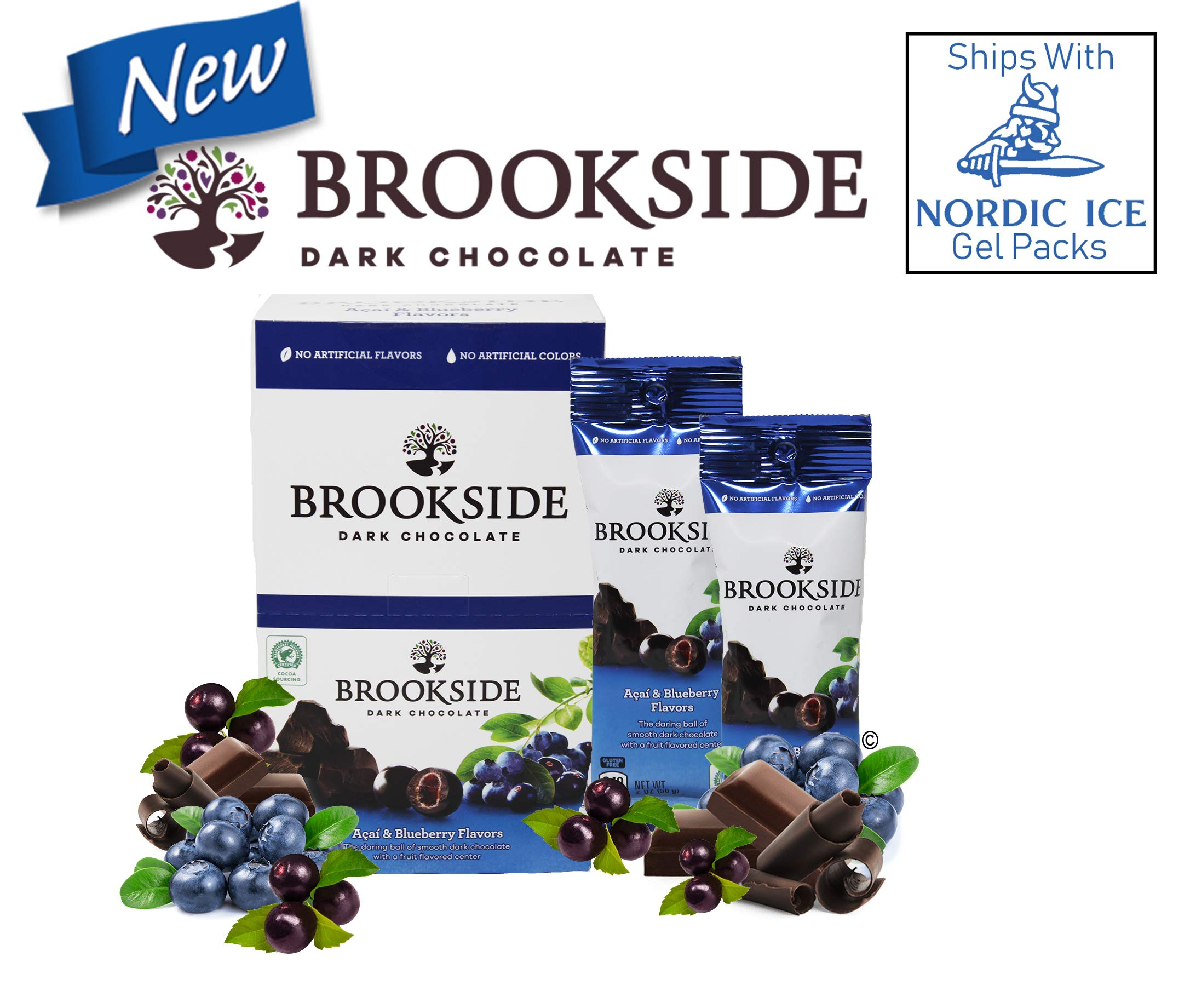 Gluten Free New from Hershey's, Brookside Acai & Blueberry Dark Chocolate On-The-Go Snack Packs 10 Count Box by Online 24/7 LLC