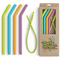 Silicone Straws - Big Size Reusable Drinking Straws with Curved Bend for Tumblers Made from BPA Free No-Rubber Silicon - Flexible, Collapsible, Chewy, Bendy, Safe for Kids/Toddlers