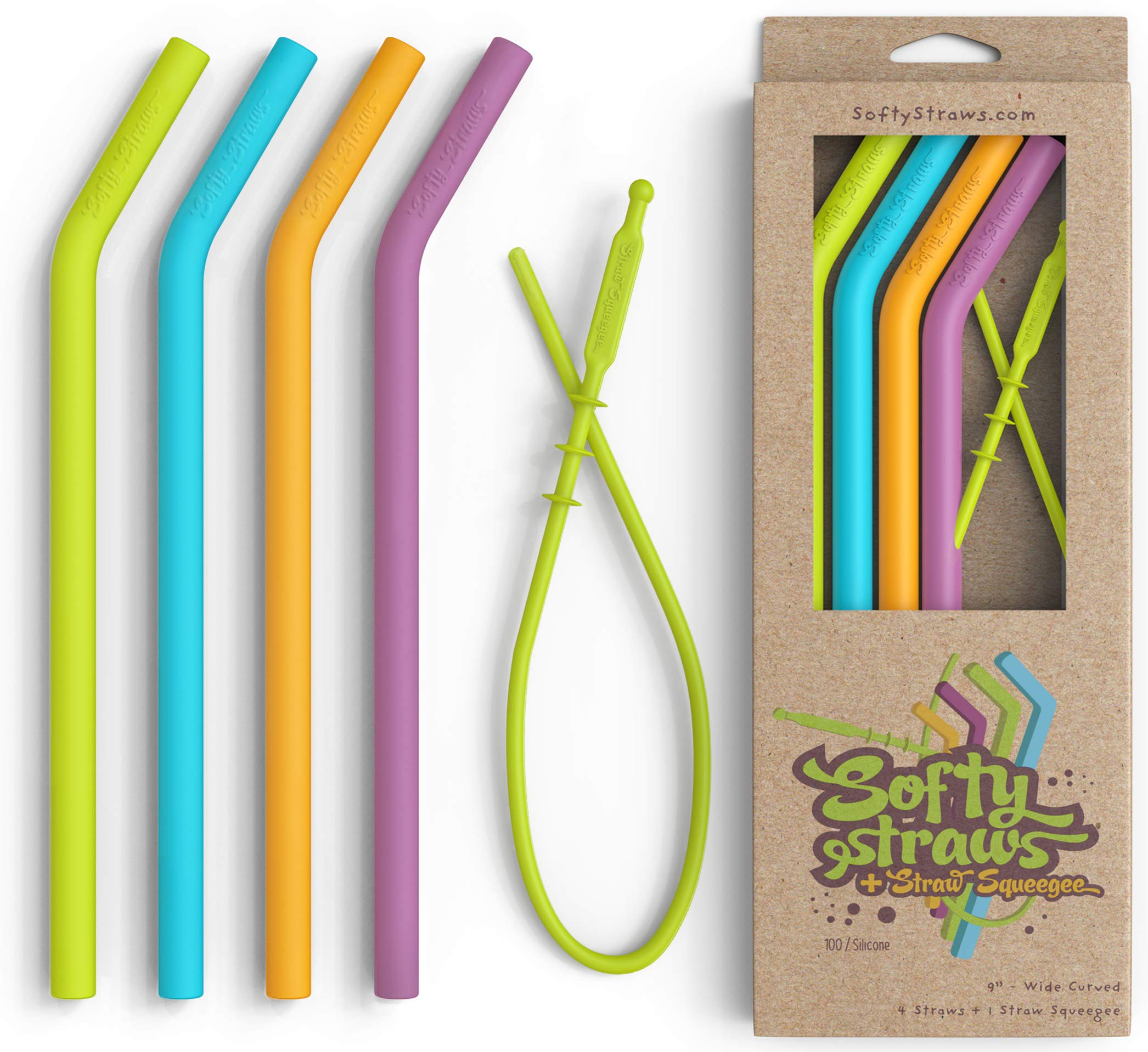 Silicone Straws - Big Size Reusable Drinking Straws with Curved Bend for Tumblers Made from BPA Free No-Rubber Silicon - Flexible, Collapsible, Chewy, Bendy, Safe for Kids/Toddlers by Softy Straws