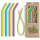 """Softy Straws Premium Reusable Silicone Drinking Straws + Patented Straw Squeegee - 9"""" Long With Curved Bend for 20/30oz Tumbl"""