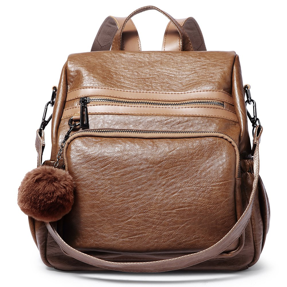 Backpack Purse for Women PU Leather Fashion Travel Detachable Covertible Ladies Shoulder Bag brown