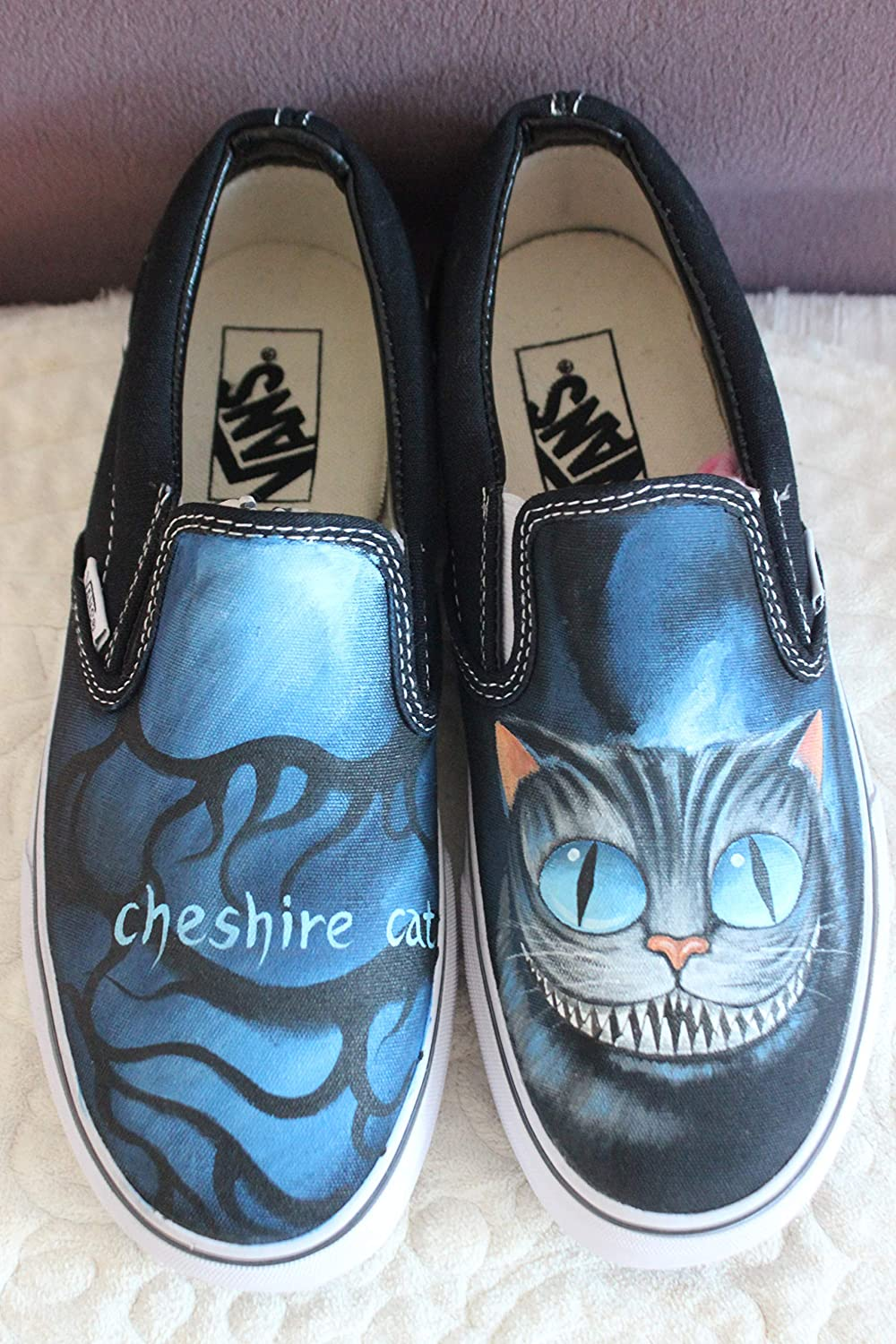 fd7e5ed9617a0d Custom Vans Alice in Wonderland Custom Vans Cheshire Cat Vans Sneakers  Women Vans Shoes Slip On Sneakers  Amazon.co.uk  Handmade