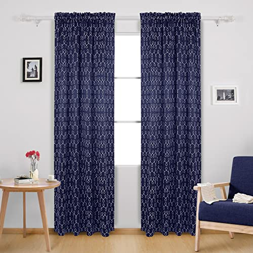 Deconovo Blackout Printed Thermal Insulated Window Curtains for Bedroom, 42W x 95L Inch, Navy Blue