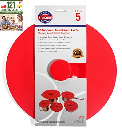 Silicone Designs Suction Lids Set of 5 Red Cooking Food Storage Microwave Splatter  sc 1 st  Amazon.com & Amazon.com: Silicone Designs Suction Lids Set of 5 Red Cooking ...