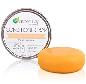Solid Conditioner Bar, Made With Natural & Organic Ingredients, All Hair Types, Sulfate-Free, Cruelty-Free & Vegan 2.3 Ounce Bar (Lemongrass & Sweet Orange)