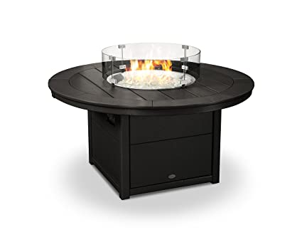 Amazon Com Polywood Round 48 Fire Pit Table Black Garden Outdoor