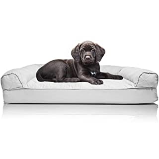 Furhaven Pet Dog Bed - Orthopedic Quilted Traditional Sofa-Style Living Room Couch Pet Bed w/ Removable Cover for Dogs & Cats, Silver Gray, Small