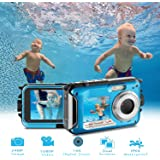 Waterproof Digital Camera Full HD 1080P Underwater Camera 24MP Video Recorder Camcorder Point and Shoot Camera Selfie Dual Screen Waterproof Camera for Snorkeling