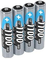 ANSMANN Micro AAA Akku 1,2V Typ 1100mAh - Leistungsstarke NiMH AAA Akkus für Geräte mit hohem Stromverbrauch - Akku Batterien AAA ideal für Phone & Kamera - Accu AAA vom Testsieger - 4 Stück