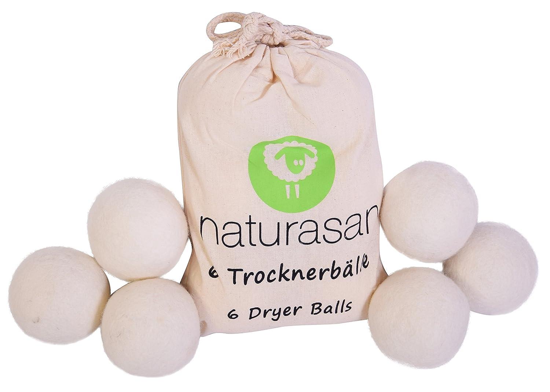 Lahela - Palle per asciugatrice 6palle di lana XXL, molto grandi, ammorbidente naturale senza prodotti chimici. ideale per giacche in piuma. Palle molto grandi per asciugatrice. Naturasan