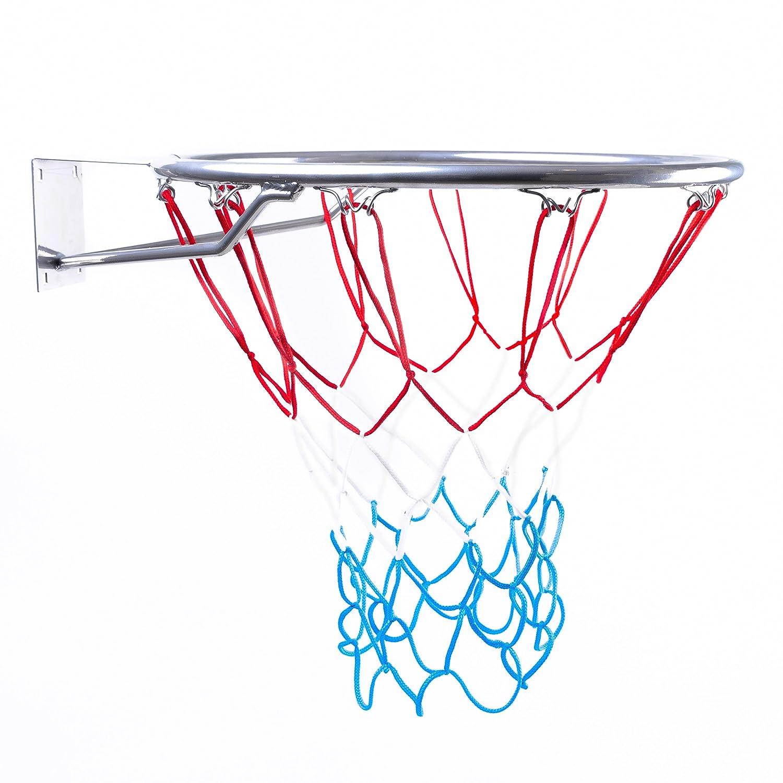 Canasta Outdoor | Canasta de baloncesto infantil para habitaciones, Anillo con Red, color plata, diámetro 45cm BESTIF