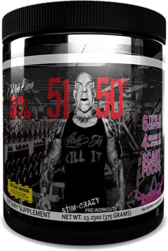 Rich Piana 5 Nutrition 5150 High Stimulant Pre-Workout Powder Supplement, 6 Caffeine Sources for Energy, Extreme Focus, N-Acetyl L-Tyrosine, Beta-Alanine, 30 Servings Int l Version Wildberry