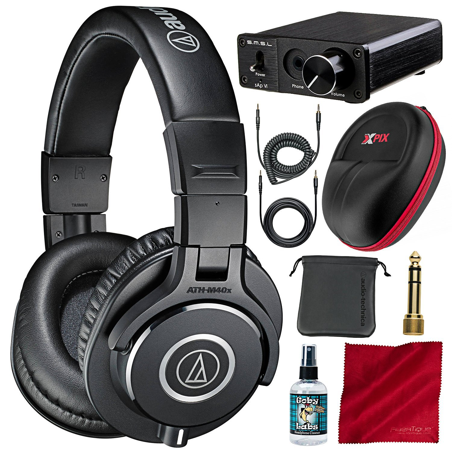 Audio-Technica ATH-M40x Monitor Headphones and Deluxe Accessory Bundle with Big Power Amplifier + Protective Case + More Photo Savings 4334427883