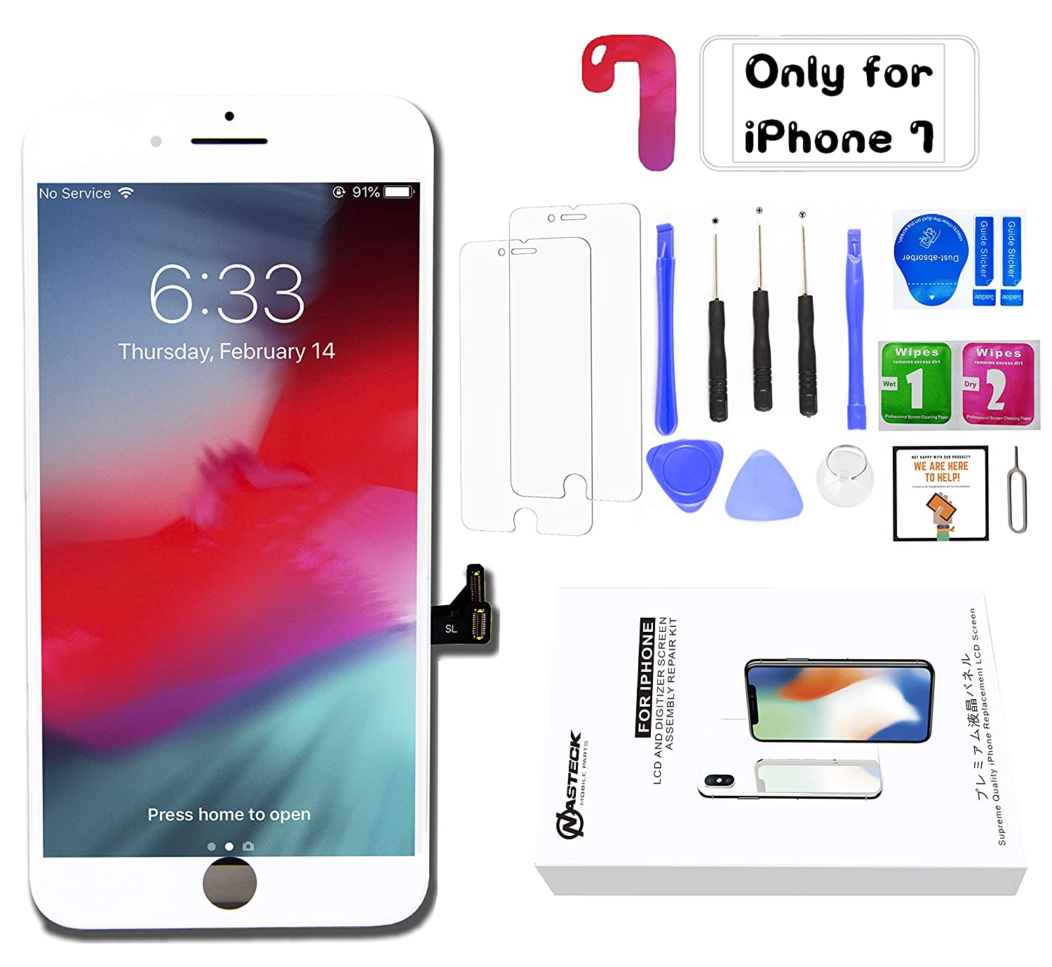 FVG for iPhone 7 Screen Replacement White (4 7'') HIGH Brightness LCD  Display Digitizer Assembly Cracked Glass Repair kit with Full Set Repair  Tools