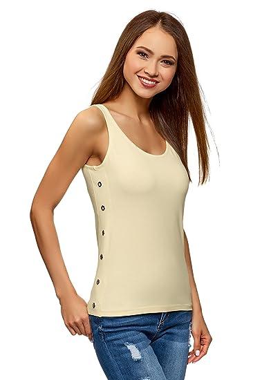 oodji Ultra Mujer Camiseta de Tirantes sin Etiqueta de Algodón con Ojales: Amazon.es: Ropa y accesorios