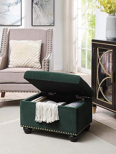 Convenience Concepts Designs4Comfort 5th Avenue Storage Ottoman, Green Velvet,