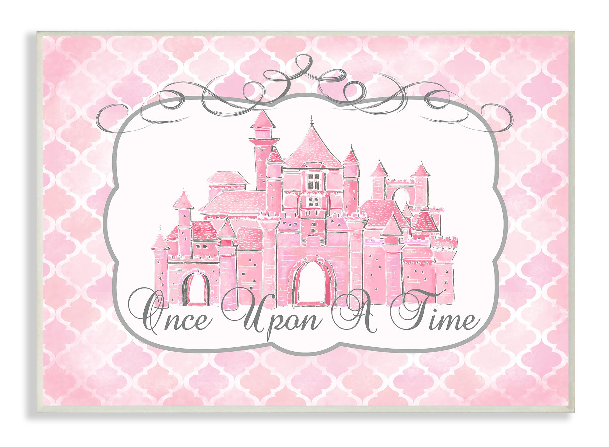 The Kids Room by Stupell Stupell Home Décor Once Upon a Time Pink Water Color Castle Wall Plaque Art, 10 x 0.5 x 15, Proudly Made in USA