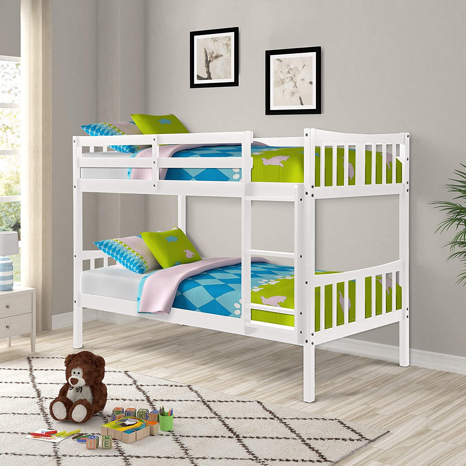 Bunk Bed for Kids, Twin Over Twin Convertible Wooden Bunk Bed Frame with Ladder and Safety Rail, Espresso
