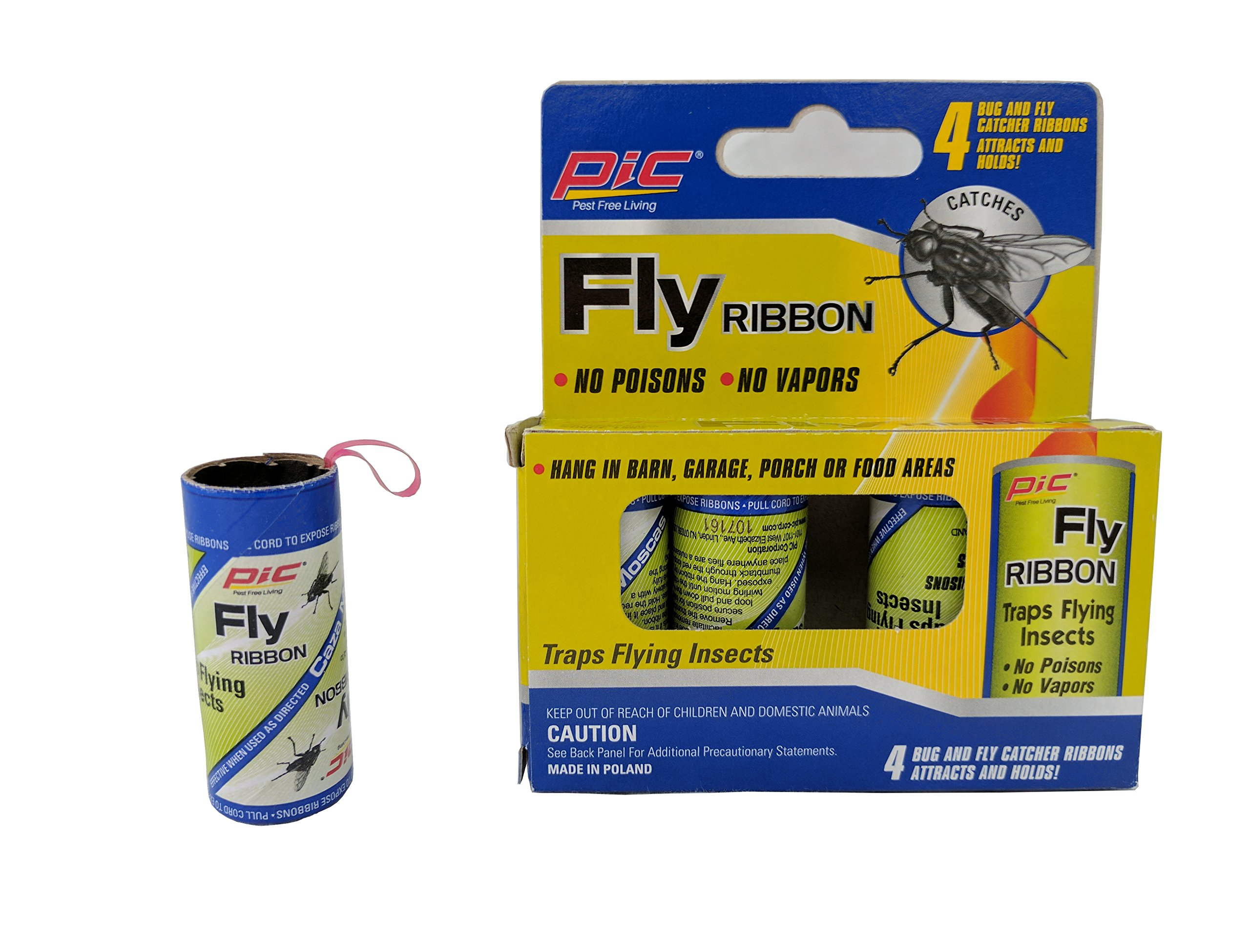 Nontoxic Fly Strips, indoor and outdoor. Sticky Fly Ribbons trap flies and mosquito (4)
