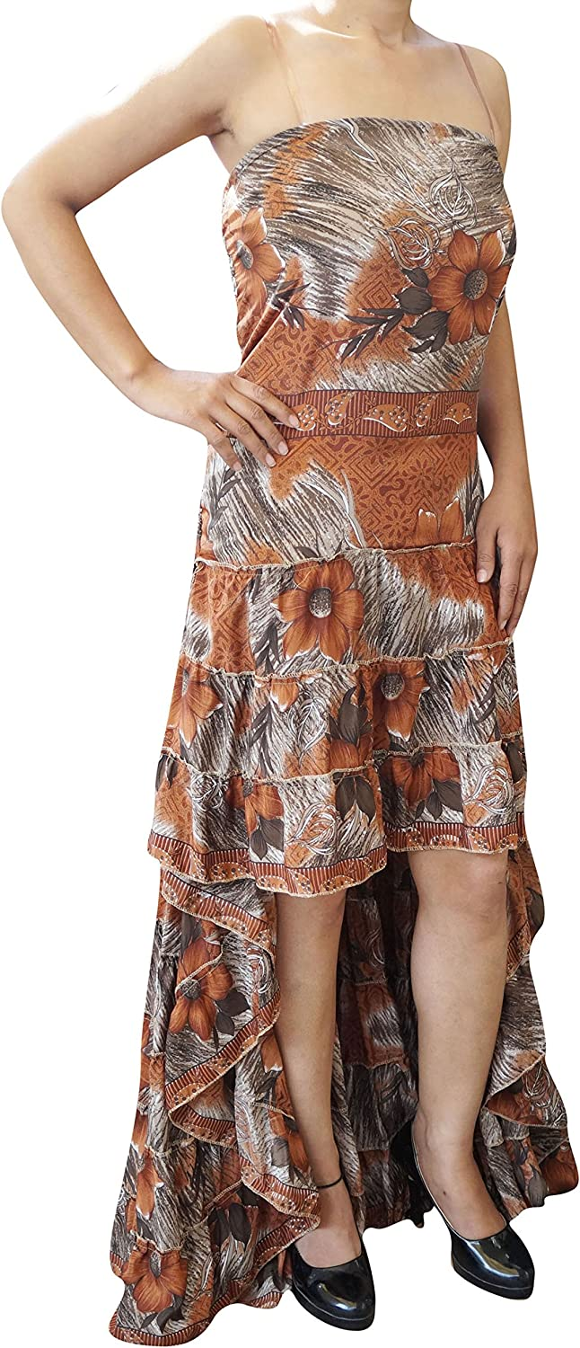 Womens Hi Low Dress Recycled Silk Feminine Touch Ruffle Tiered