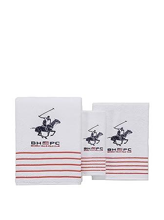 Beverly Hills Polo Club Set de 3 Toallas California blanco Unica: Amazon.es: Hogar