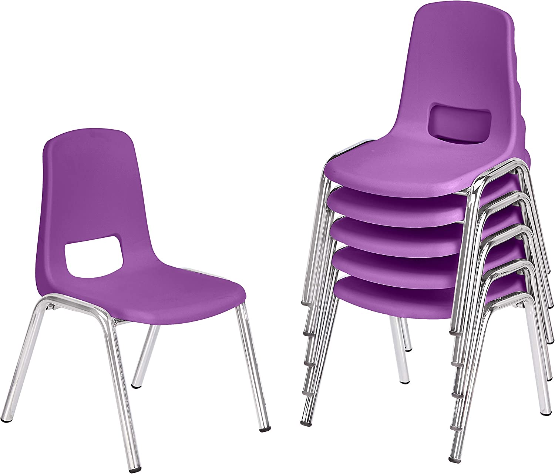 Amazon Basics School Classroom Stack Chair, 10-Inch Seat Height - 6-Pack, Chrome Legs, Purple
