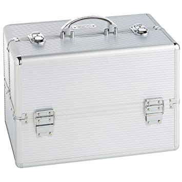 Beautify Large Silver Makeup Cosmetic Organizer Train Case 14u0026quot;  Professional Aluminum Storage Box ...