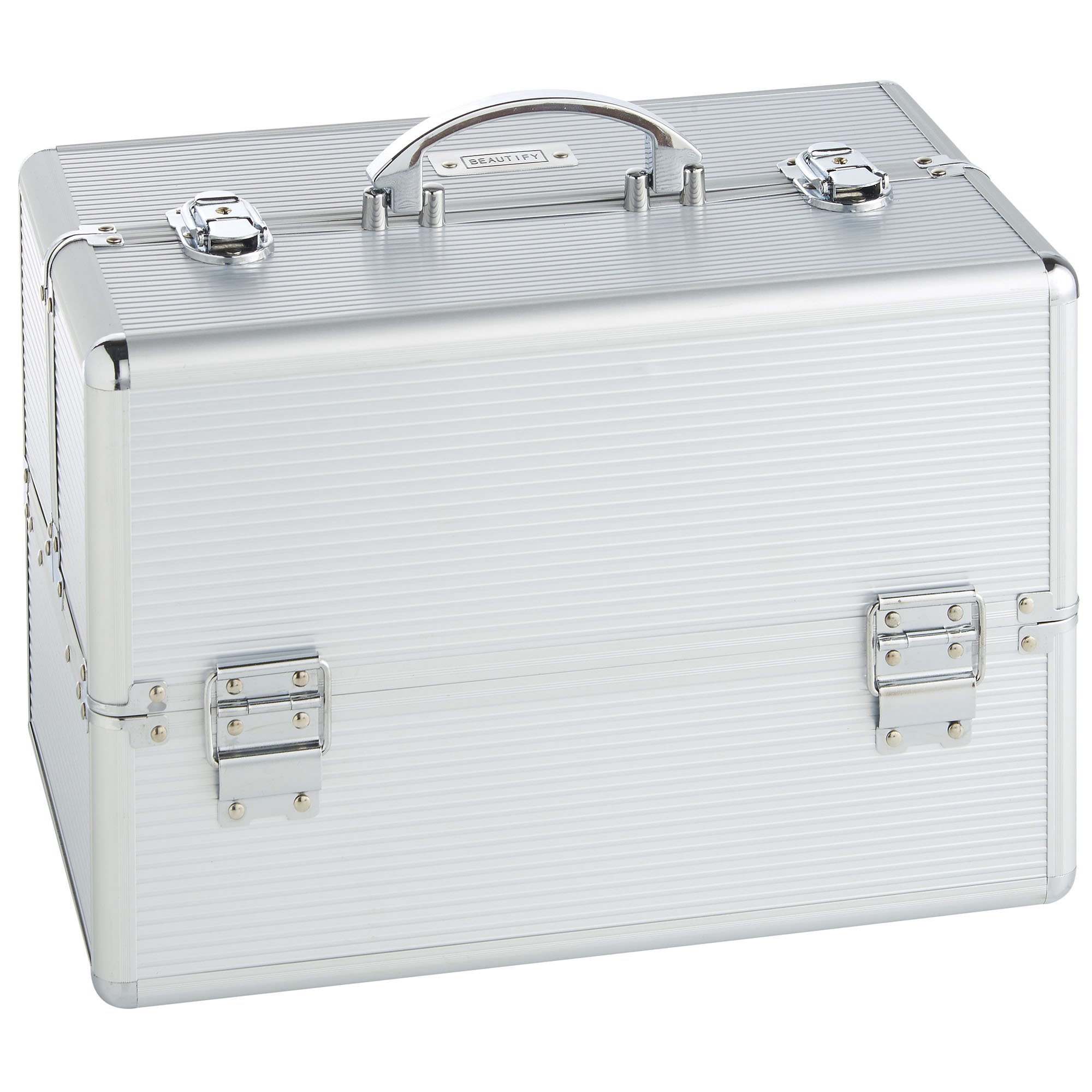 """Beautify Large Silver Makeup Cosmetic Organizer Train Case 14"""" Professional Aluminum Storage Box with Lock"""