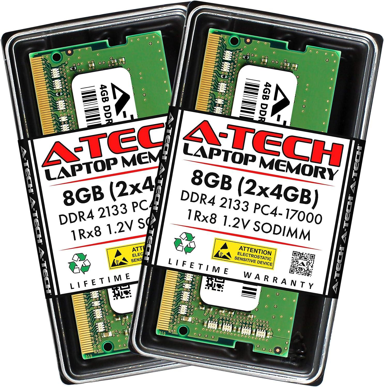A-Tech 8GB (2x4GB) DDR4 2133MHz SODIMM PC4-17000 1Rx8 Single Rank 260-Pin CL15 1.2V Non-ECC Unbuffered Notebook Laptop RAM Memory Upgrade Kit