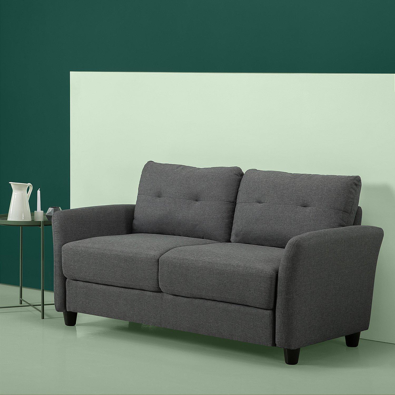 Zinus Ricardo Contemporary Upholstered 62.2 Inch Sofa Couch / Loveseat,  Dark Grey