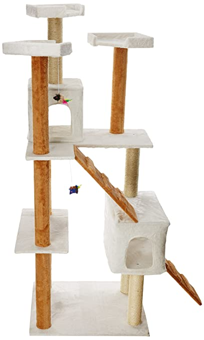 Amazon.com : OxGord 22x22x58-Inch Condo Cat Tree With Scratching Post And Toys Tan And White : Pet Supplies