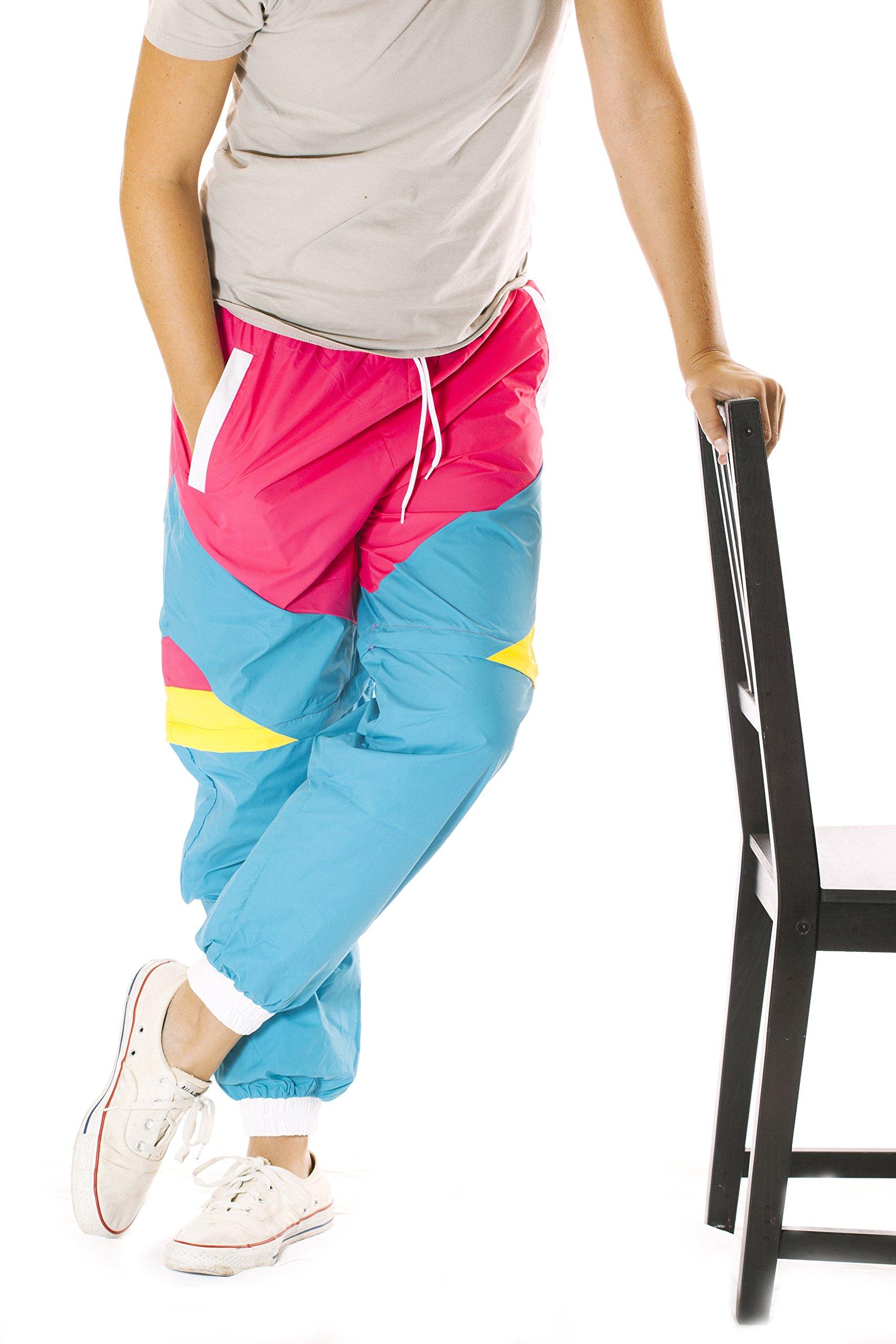 Funny Guy Mugs Like Totally 80s & 90s Retro Neon Windbreaker Pants, X-Large