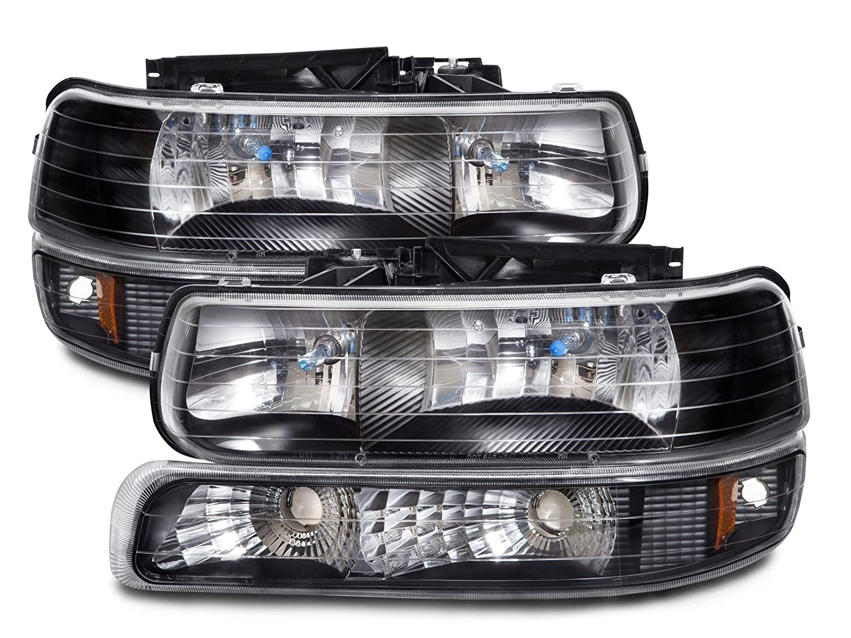 All Chevy 95 chevy headlights : Amazon.com: Chevy Silverado/Tahoe Halogen-Type Xenon Black 4-Piece ...