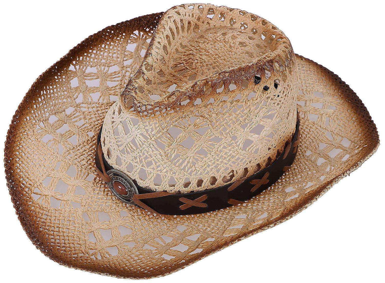 Verabella Men/Women's Classic Western Cowboy Straw Hat w/Leather Band Black