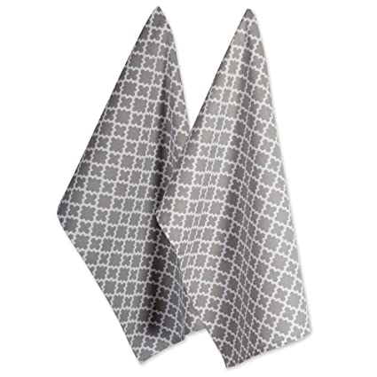 Dii Cotton Lattice Dish Towels With Hanging Loop 18 X 28 Set Of 2 Fast Dry Kitchen Tea Towels For Everyday Cooking And Baking Gray