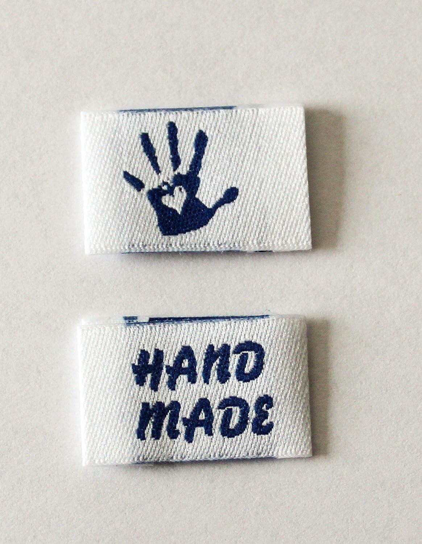 Sylter N/ähkultur 15 Handmade with Love Labels Mix mit 15 Einn/ähetiketten Webetiketten Textiletiketten Kleideretiketten