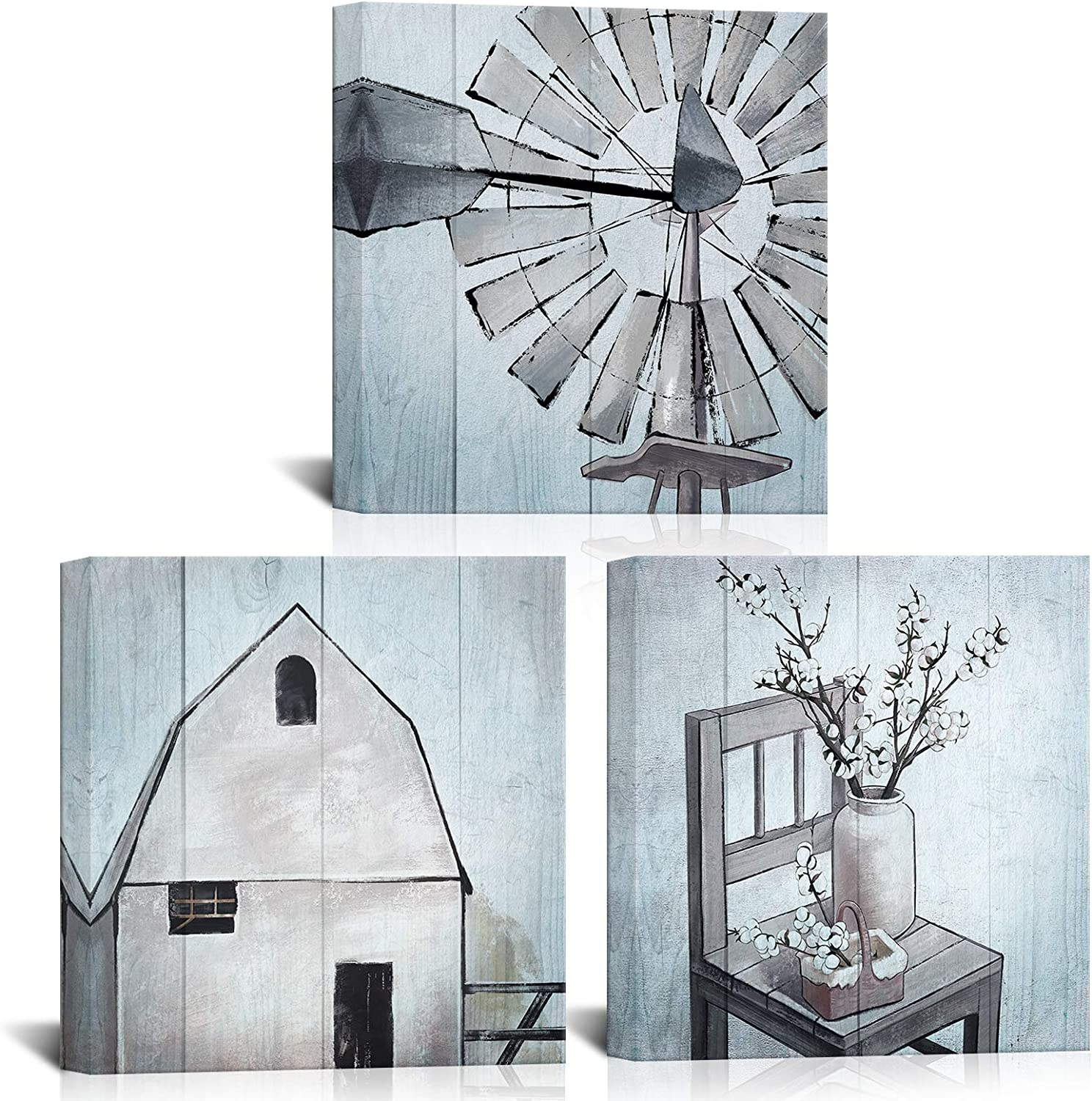 LoveHouse Farmhouse Pictures Rustic Windmill Cabin Country Wall Art for Bedroom Bathroom Wall Decor Farm Themed Canvas Picture Minimalist Decoration Gallery Wrap Ready to Hang 12x12inchx3pcs