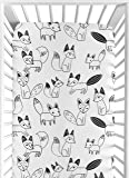 Sweet Jojo Designs Fitted Crib Sheet for Black and White Fox Collection Baby/Toddler Bedding Set Collection