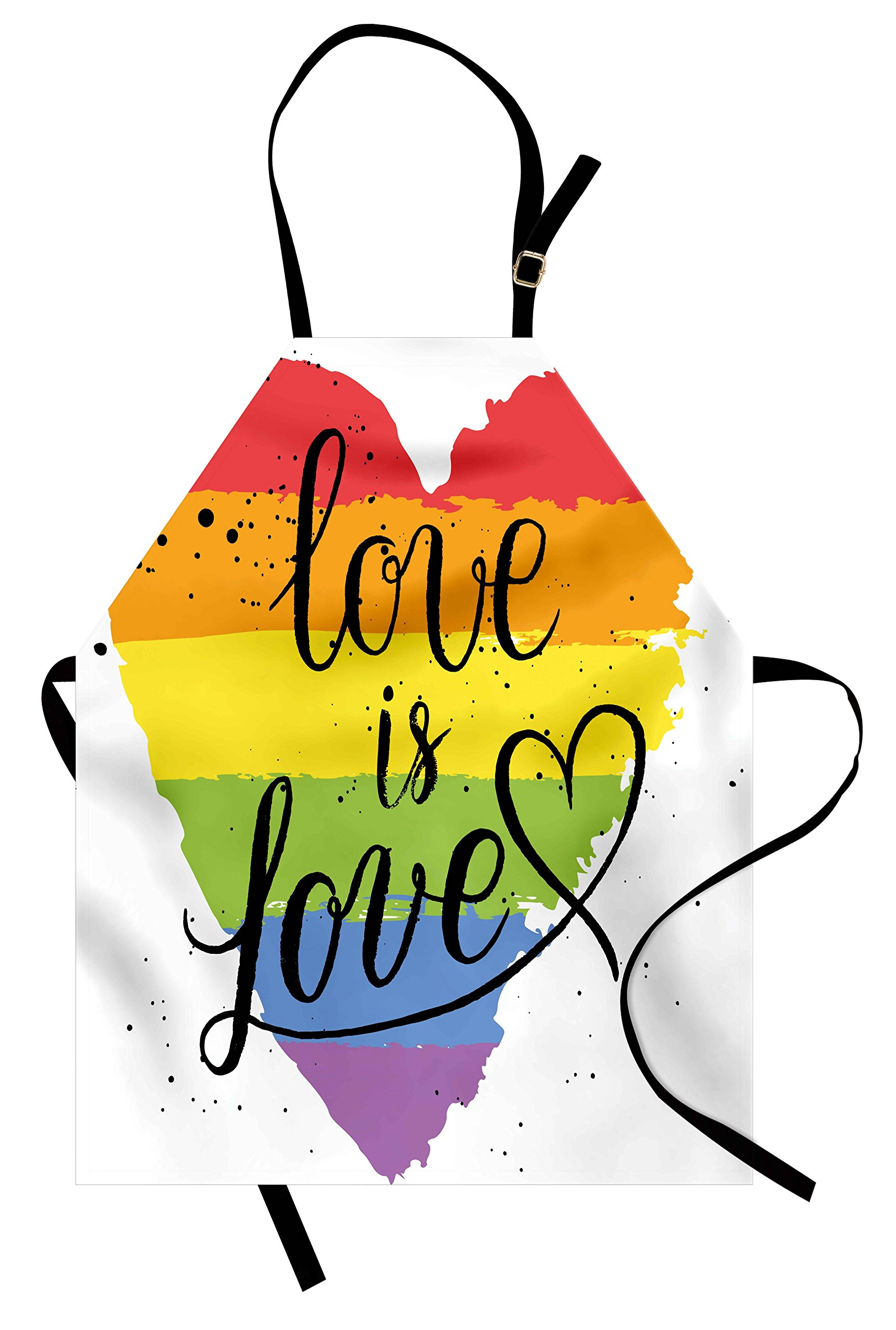Ambesonne Pride Apron, LGBT Gay Lesbian Parade Love Valentines Inspiring Hand Writing Paint Strokes Artistic, Unisex Kitchen Bib Apron with Adjustable Neck for Cooking Baking Gardening, Multicolor