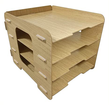 Amazon.: Wood Grain Desk Paper Organizer Sturdy Office Letter