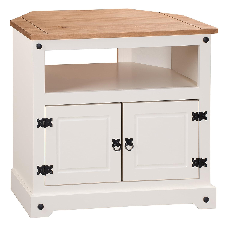 Mercers Furniture Corona Painted Corner TV Unit - Cream/Brown ...