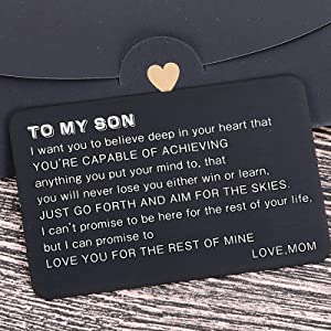 Mom To My Son Wallet Card Inserts Christmas Valentine Gifts For Step Son From Mom Mothers Day Graduation Sweet 16 18 21 Birthday Love Note For Him Teens Adult Men Teenage Boys Kids Inspirational Gift