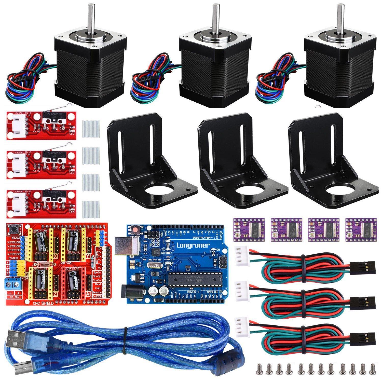 Longruner For Arduino Professional 3D printer CNC Kit, GRBL CNC Shield +UNO R3 Board+RAMPS 1.4 Mechanical Switch Endstop+DRV8825 A4988 GRBL Stepper Motor Driver+Nema 17 Stepper Motor (LKB02)